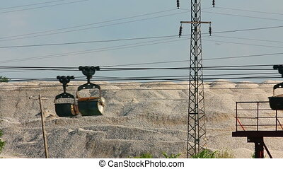 industrial cableway and moving trolleys with rock