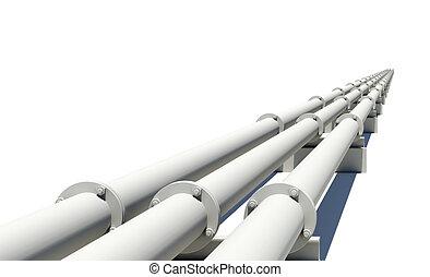 industrial, canos, esticar, isolado, branca, distância.