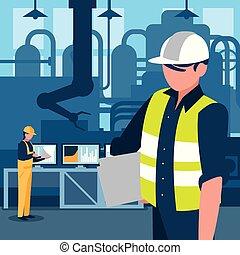 industrial, carácter, trabajador, fábrica