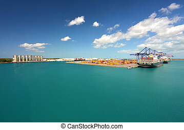 industrial, -, carga, barcos, descargar