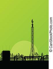 industrial, cartel, fábrica, ilustración, refinería, vector...