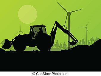 industrial, cavando, escavador, máquinas, trabalhadores, local, ilustração, tratores, vetorial, pilha, hidráulico, fundo, construção, carregadores, perfurar