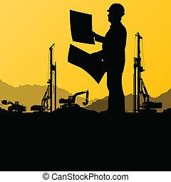 industrial, cavar, excavador, sitio, ilustración, cargadores, tractores, vector, plano de fondo, construcción, ingenieros