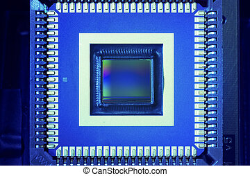 industrial ccd sensor mounted on electrical circuit board
