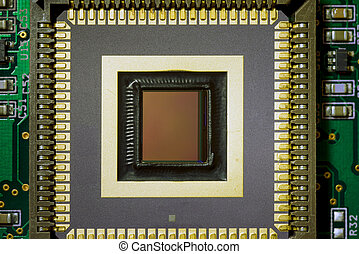 industrial ccd sensor mounted on green electrical circuit board