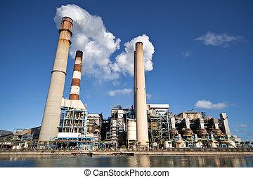 industrial, central eléctrica, con, chimenea