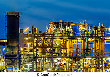 Industrial Chemical plant framework profile detail at night