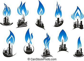 Industrial chemical plants with blue flames - Industrial...