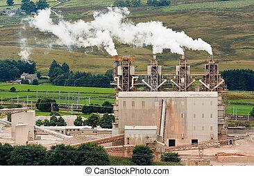 industrial chimeys - Four industrial chimneys belching smoke...