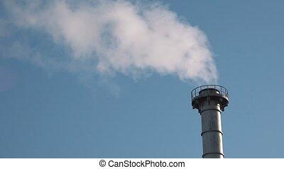 Industrial chimney flue gas
