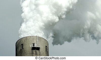 Industrial Chimney Smoke Emissions Extreme Closeup