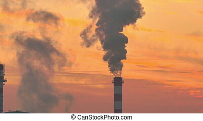 Industrial chimney smoke factory at sunset 4? - Industrial ...