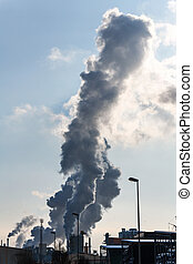 industrial chimney with exhaust gases