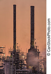 Industrial chimneys, early morning