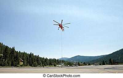 industrial, cielo, el asomar, helicóptero, grúa, o