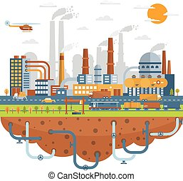 Industrial City Concept With Chemical Plants - Industrial...
