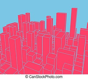 industrial, city., town., abstratos, ilustração, skyline, vetorial, paisagem