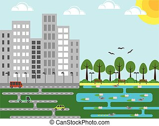 Industrial City with a Park and Pond Flat Design