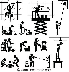 A set of pictograms representing industrial cleaner working on risky jobs.