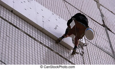 Industrial Climber Insulation of Facade Old High-Rise ...