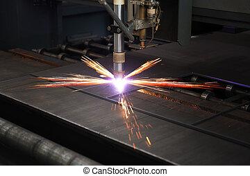 industrial, cnc, plasma, corte, de, plato metal