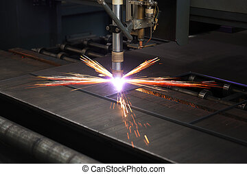 industrial, cnc, plasma, corte, de, prato metal