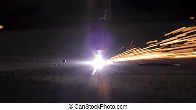 Industrial cnc plasma cutting of metal plate - Plasma ...