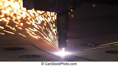 Industrial cnc plasma cutting of metal plate - Sheet metal ...
