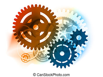 Cogwheel on the color background