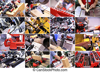 Industrial collage plant equipment and construction tools.