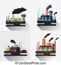 industrial, colorido, fábrica, ilustração