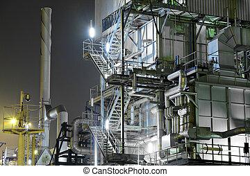 industrial, complejo, por la noche