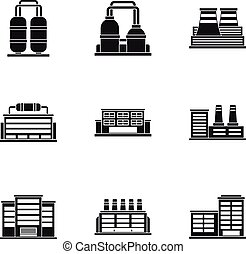 Industrial complex icons set, simple style