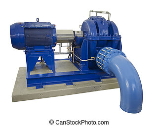 industrial compressor with elbow on white