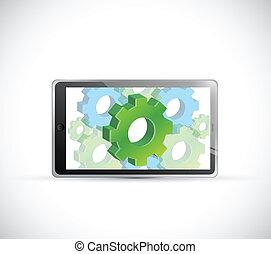 industrial concept computer tablet illustration