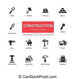 Industrial concept, construction - line design icons set