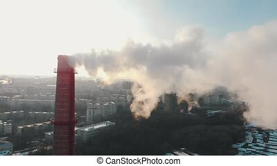 Industrial concept - smoke coming out of a manufacturing ...