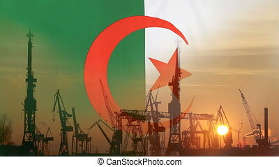 Industrial concept with Algeria flag at sunset, silhouette...
