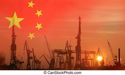 Industrial concept with China flag at sunset