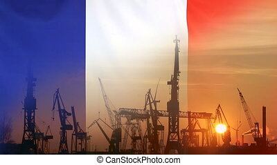 Industrial concept with France flag at sunset