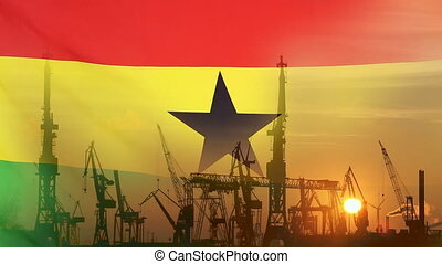 Industrial concept with Ghana flag at sunset, silhouette of...