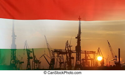 Industrial concept with Hungary flag at sunset