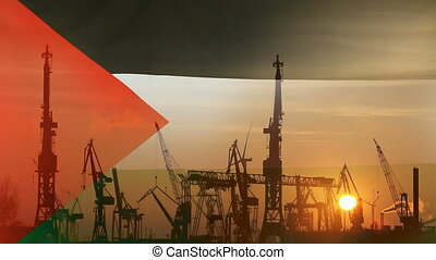 Industrial concept with Palestine flag at sunset, silhouette...