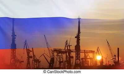 Industrial concept with Russia flag at sunset