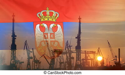 Industrial concept with Serbia flag at sunset, silhouette of...
