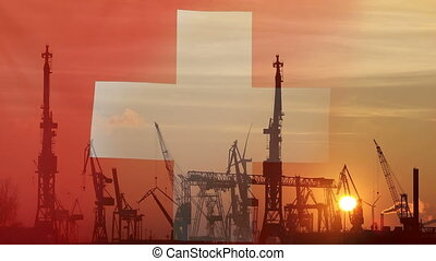 Industrial concept with Switzerland flag at sunset