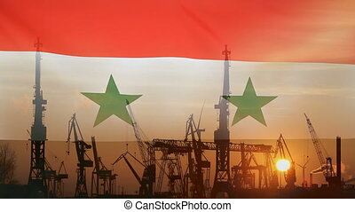 Industrial concept with Syria flag at sunset, silhouette of...