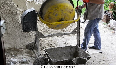 Industrial concrete mixer. Cement mixer on construction site...