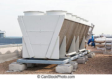 industrial, condicionador ar, ligado, a, telhado
