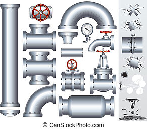 Industrial pipeline parts with set of various damaged elements. Gas or water pipe, faucet, valve, connector, shaft, fitting, gate etc...